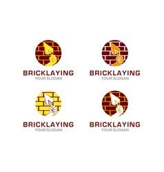 Bricklaying construction logo design vector