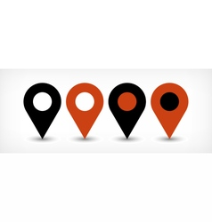 Brown flat map pin sign location icon with shadow vector