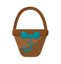 brown hamper with blue ribbon bow decoration vector image