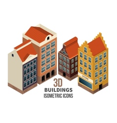 Building icons 3d vector image
