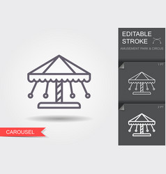 carousel line icon with editable stroke vector image