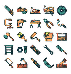 carpenter icons pack vector image