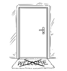 Cartoon drawing of closed door with cross out vector