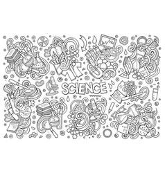 cartoon set science theme doodles design vector image