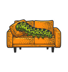 Caterpillar on couch sketch vector