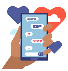 chat lovers online flat cartoon concept vector image