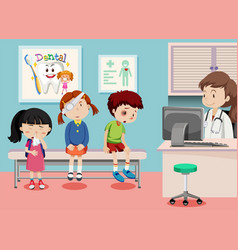 Children in medical clinic vector