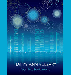 cityscape with seamless celebration fireworks vector image