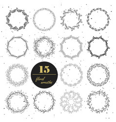 collection hand drawn floral wreaths vector image