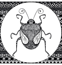 Coloring page of Balck Bug zentangle vector