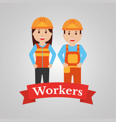 couple of construction workers characters workwear vector image