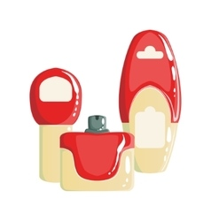Cream Shampoo And Perfume Containers Beauty And vector