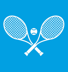 crossed tennis rackets and ball icon white vector image