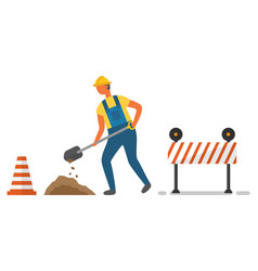 digger and cone with barrier roadwork vector image