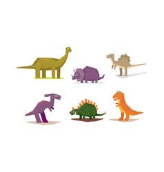 dinosaurs set cute geometric jurassic period vector image