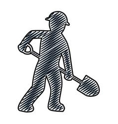 Doodle pictograph laborer with shovel equipment vector