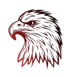 Eagle head in profile Line art style vector