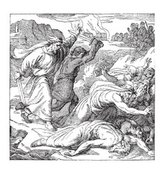 Elijah slaying prophets the of baal vintage vector