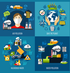 Environmental problems concept icons set vector
