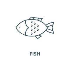 fish line icon outline concept linear vector image