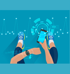 fitness woman hand with wearing watchband vector image