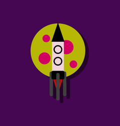 Flat icon design collection rocket and moon in vector