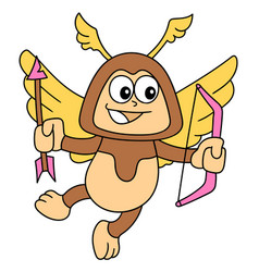 Flying love angel cartoon stickers carrying vector