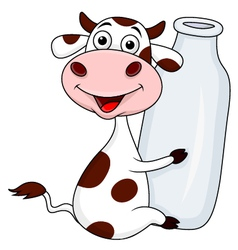 Funny cow embrace a bottle of milk vector