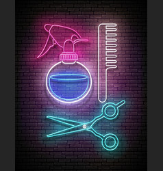 Glow hairdressing scissors hairbrush and sprayer vector