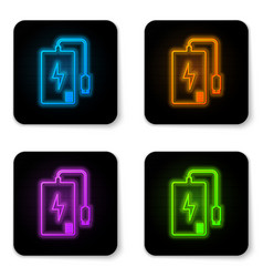 glowing neon power bank with different charge vector image