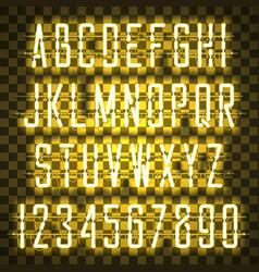 Glowing yellow neon casual script font vector