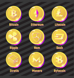 golden and purple vecor crypto currency set vector image