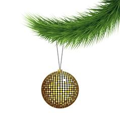 Golden Christmas ball on pine branch vector