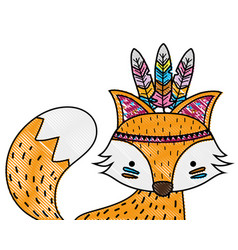 Grated cute fox animal with feathers decoration vector