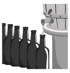 Grayscale beer bottles filling up icon vector