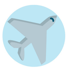 grey airplane in light blue circle on white vector image