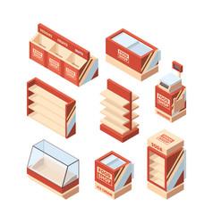grocery shop furniture store fridge shelves cash vector image