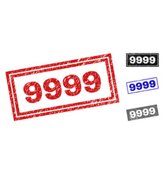 grunge 9999 textured rectangle watermarks vector image