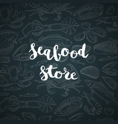 Hand drawn seafood elements background vector