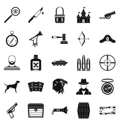 Handgun icons set simple style vector