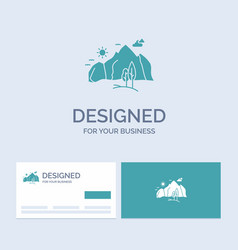 Hill landscape nature mountain tree business logo vector