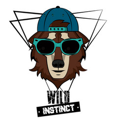 Hipster wild animal print for t shirt vector