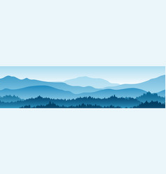 Horizontal landscape with fog forest mountains vector