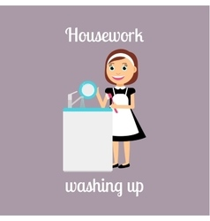 Housekeeper woman washing up vector