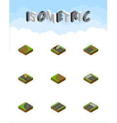 Isometric road set of turning unfinished way and vector