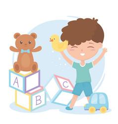 kids zone cute little boy alphabet blocks teddy vector image