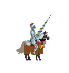 Knight on horse with lance in hand brave warrior vector