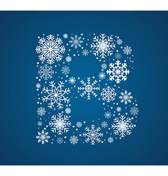 Letter B font frosty snowflakes vector
