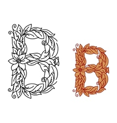 Letter B in floral and foliate font vector