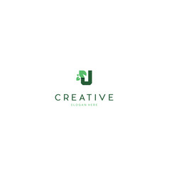 letter u green leaf organic creative business logo vector image